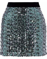 MILLY - Modern Velvet-trimmed Sequined Tulle Mini Skirt - Lyst