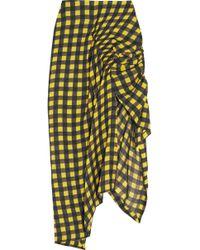 Preen By Thornton Bregazzi - Asymmetric Ruched Gingham Silk Midi Skirt - Lyst
