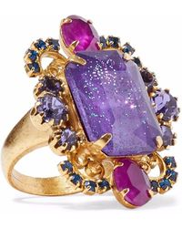Elizabeth Cole - Woman Kennedy Gold-tone Crystal Ring Purple - Lyst