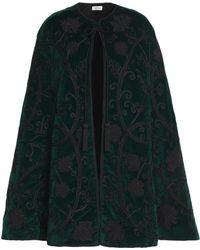 Talitha - Embroidered Silk-velvet Cape Dark Green - Lyst