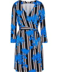 9ed2227a1b Diane von Furstenberg - Woman New Julian Printed Silk-jersey Mini Wrap Dress  Blue -