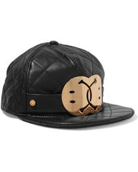 Moschino - Embellished Quilted Leather Cap - Lyst