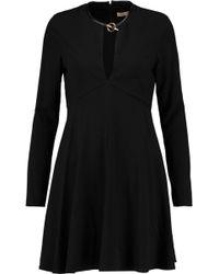 Halston - Leather-trimmed Crepe Mini Dress - Lyst