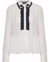 Markus Lupfer - Skye Ruffle-trimmed Embellished Silk Blouse - Lyst