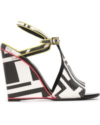 Emilio Pucci - Printed Snake-effect Leather Wedge Sandals - Lyst