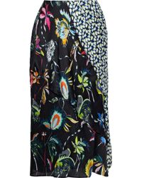 Jason Wu - Woman Paneled Floral-print Silk-georgette Skirt Black - Lyst