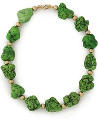 Kenneth Jay Lane - Woman Gold-tone Stone Necklace Green - Lyst