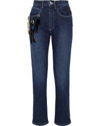 Sonia Rykiel - Cropped Embellished Embroidered High-rise Slim-leg Jeans Mid Denim - Lyst
