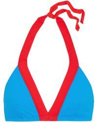 Diane von Furstenberg - Two-tone Halterneck Bikini Top Bright Blue - Lyst