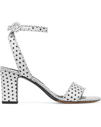 Tabitha Simmons - Leticia Polka-dot Twill Sandals - Lyst
