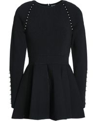 Lela Rose - Woman Faux Pearl-embellished Stretch-knit Peplum Top Black - Lyst