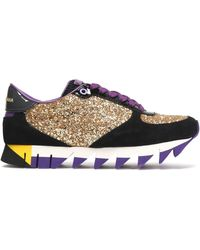Dolce & Gabbana - Capri Glittered Leather And Suede Platform Sneakers - Lyst