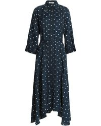 Nina Ricci - Fluted Printed Twill Midi Shirtdress Navy - Lyst