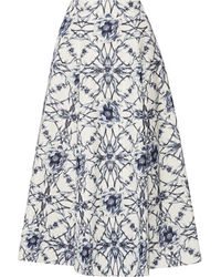 Notte by Marchesa - - Printed Cotton And Silk-blend Midi Skirt - Storm Blue - Lyst