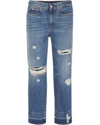 215e5e44cd67 Stella McCartney - Cropped Distressed High-rise Straight-leg Jeans - Lyst