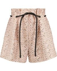 3.1 Phillip Lim - Leather-trimmed Pleated Tweed Shorts - Lyst