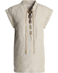 MICHAEL Michael Kors - Lace-up Chain-embellished Linen Tunic - Lyst