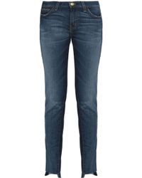 Current/Elliott - Faded Slim-leg Jeans Dark Denim - Lyst
