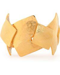Oscar de la Renta - Hammered Gold-tone Bracelet - Lyst