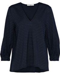 Tibi - Woman Pinstriped Stretch-jersey Blouse Midnight Blue - Lyst