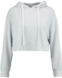 Monrow - Cropped Mélange Cotton-blend Jersey Hooded Sweatshirt Sky Blue - Lyst