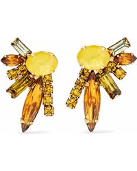 Elizabeth Cole - 24-karat Gold-plated, Swarovski Crystal And Stone Earrings - Lyst