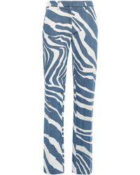 c0fbd68cedb95 Roberto Cavalli - Woman Zebra-print Mid-rise Straight-leg Jeans Mid Denim