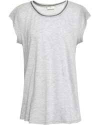 Joie - Damani Chain-trimmed Linen And Modal-blend Jersey T-shirt - Lyst
