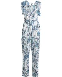 Just Cavalli - Open-back Ruffle-trimmed Printed Linen-blend Jumpsuit - Lyst