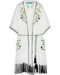 Matthew Williamson - Embroidered Silk-chiffon Kimono Jacket - Lyst