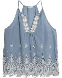 Joie - Broderie Anglaise Cotton-chambray Top Light Denim - Lyst