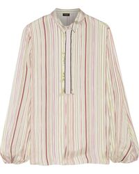 Giambattista Valli - Grosgrain-trimmed Striped Silk-satin Blouse - Lyst