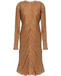 Nina Ricci - Frayed Plissé Silk Dress - Lyst