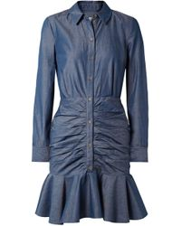 Veronica Beard - Ruched Cotton-chambray Mini Dress - Lyst
