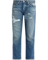 AMO - Distressed Straight Leg Jeans - Lyst