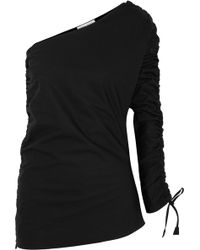 Barbara Casasola - Ruched Asymmetric Cotton-gabardine Top - Lyst
