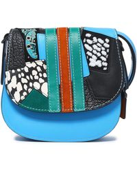 COACH - Embellished Patchwork Leather And Suede Shoulder Bag - Lyst