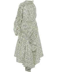 Marni - Woman One-shoulder Ruched Floral-print Cotton-poplin Maxi Dress Pastel Yellow - Lyst