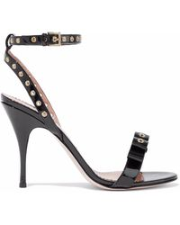 RED Valentino - Eyelet-embellished Patent-leather Sandals - Lyst