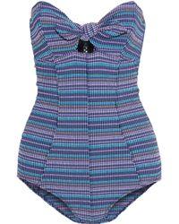 Lisa Marie Fernandez - Poppy Strapless Knotted Striped Seersucker Swimsuit - Lyst
