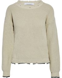 IRO - Distressed Ribbed Cotton Sweater - Lyst