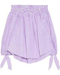 Caroline Constas - Woman Lou Off-the-shoulder Striped Cotton-poplin Top Lavender - Lyst