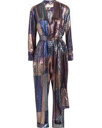 Victoria, Victoria Beckham - - Metallic Printed Silk-blend Jumpsuit - Midnight Blue - Lyst