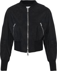 3.1 Phillip Lim - Cropped Zip-detailed Washed-shell Bomber Jacket - Lyst