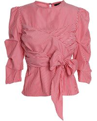 W118 by Walter Baker - Tristian Bow-embellished Striped Cotton-poplin Blouse Tomato Red - Lyst
