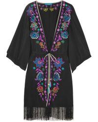Matthew Williamson - Sakura Embroidered Crepe De Chine Kimono - Lyst