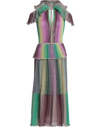 M Missoni - Cutout Ruffled Metallic Striped Crochet-knit Midi Dress - Lyst