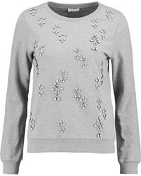 Soft Joie - - Marha Embellished Cotton-blend Sweatshirt - Grey - Lyst