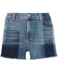 J Brand - Patchwork-effect Frayed Denim Shorts - Lyst