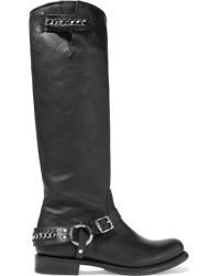 Frye - Jenna Chain-embellished Leather Knee Boots - Lyst